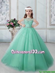 Fashionable See Through Scoop Little Girl Pageant Dress in Apple Green