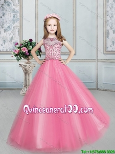 Modest See Through Ball Gown Bateau Little Girl Pageant Dress in Rose Pink