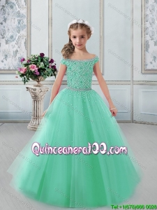 Most Popular Tulle Turquoise Little Girl Pageant Dress with Off the Shoulder