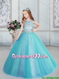 Affordable Beaded Tulle Scoop Little Girl Pageant Dress in Aqua Blue