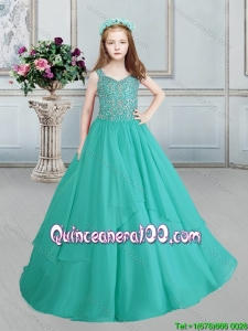 Cute Turquoise Little Girl Pageant Dress in Beaded Decorated Straps and Bodice