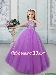 Hot Sale Beaded Bodice Lilac Little Girl Pageant Dress with Lace Up