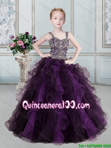 New Arrivals Straps Ball Gown Two Tone Little Girl Pageant Dress in Tulle