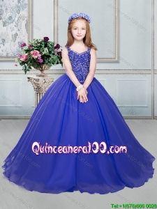 Perfect Organza Royal Blue Little Girl Pageant Dress with Beaded Decorated Straps