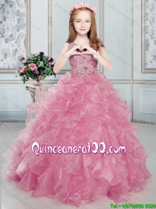 Pretty Scoop Beaded Bodice and Ruffled Watermelon Red Little Girl Pageant Dress
