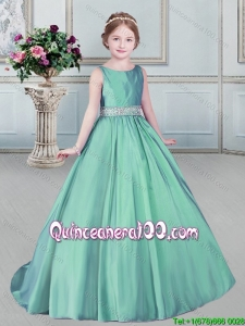 Simple Beaded Decorated Waist Apple Green Little Girl Pageant Dress with Brush Train