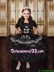 Cowgirl Discount Embroideried Black Little Girl Pageant Dress in Tea Length