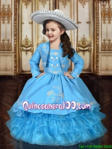 Western Style Embroideried and Ruffled Layers Little Girl Pageant Dress in Baby Blue