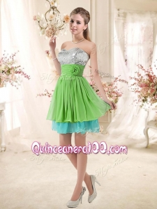 2016 Pretty Sweetheart Short Dama Dresses with Sequins and Belt