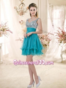 2016 Top Selling Straps Short Sequins Dama Dresses in Teal