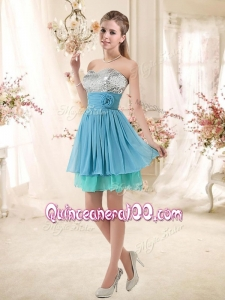 Cheap Sweetheart Dama Dresses with Sequins and Hand Made Flowers