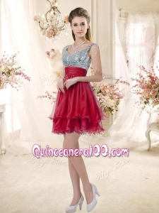 New Style Straps Sequins and Ruching Dama Dresses in Wine Red