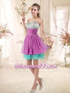 New Style Sweetheart Sequins and Belt Dama Dresses in Multi Color