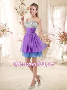 New Style Sweetheart Short Sequins Dama Dresses in Multi Color