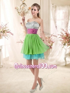 Cheap Sweetheart Short Dama Dresses with Sequins and Belt