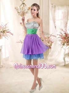 Most Popular Sweetheart Multi Color Short Dama Dresses with Sequins