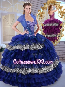 Beautiful Sweetheart Ball Gown Ruffled Layers and Zebra Quinceanera Dresses