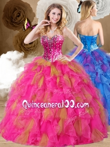 Lovely Ball Gown Sweetheart Ruffles Quinceanera Dresses in Multi Color