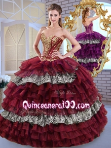 2016 Fashionable Sweetheart Ball Gown Ruffled Layers and Zebra Sweet 16 Dresses
