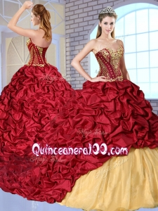 2016 Most Popular Sweetheart Brush Train Pick Ups and Appliques Sweet 16 Dresses