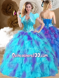 2016 Sweet Ball Gown Sweetheart Ruffles Sweet 16 Dresses in Multi Color