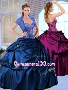 Simple and Wonderful Sweetheart Taffeta Royal Blue Quinceanera Dresses with Appliques