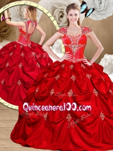 2016 Top Gorgeous Red Sweet 16 Gowns with Appliques and Pick Ups