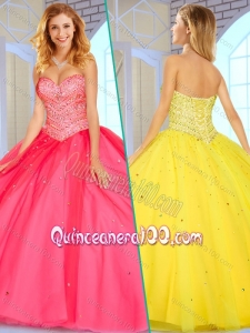 2016 Lovely Sweetheart Ball Gown Sweet 16 Gowns with Beading