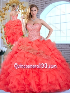2016 Lovely Sweetheart Quinceanera Dresses with Beading and Ruffles for Summer