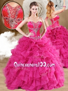 2016 Ball Gown Fuchsia Sweet 16 Dresses with Ruffles