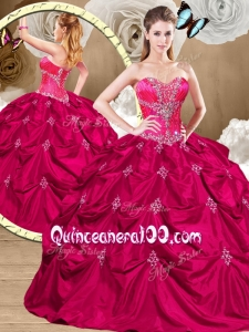 Lovely Hot Pink Sweet 16 Dresses with Appliques and Pick Ups
