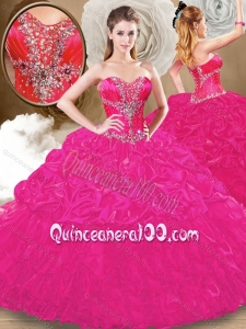 Lovely Sweetheart Fuchsia Sweet 16 Gowns with Pick Ups