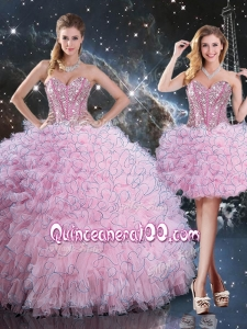 2016 Pretty Detachable Quinceanera Dresses with Beading and Ruffles