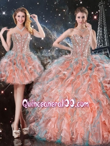 Fashionable Ball Gown Sweetheart Detachable Sweet 16 Gowns for Fall