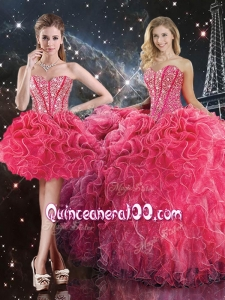 Luxurious Sweetheart Detachable Sweet 16 Dresses with Beading for Fall
