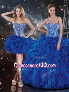 New Style Sweetheart Detachable Beading Quinceanera Dresses in Blue