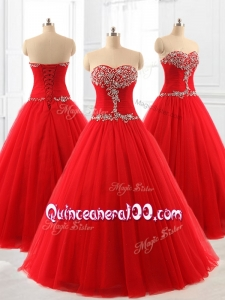 2016 Custom Made A Line Beading Tulle Quinceanera Dresses for 2016