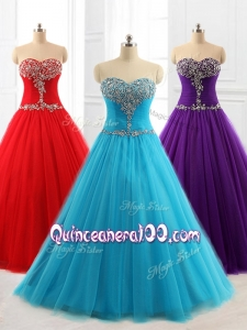2016 Custom Made A Line Sweetheart Quinceanera Dresses with Beading for 2016