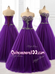 2016 Custom Made Beading A Line Sweet 16 Dresses in Purple