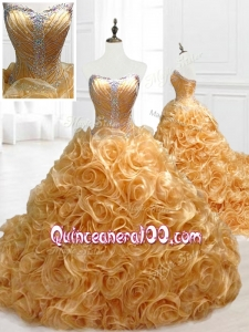 2016 Custom Made Sweetheart Rolling Flowers Brush Train Quinceanera Dresses with Beading