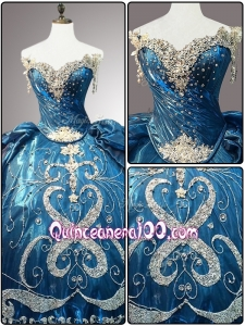 Custom Made Sweetheart Beading Teal Quinceanera Dresses for 2016