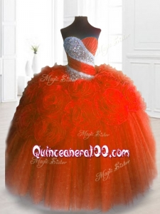 2016 Custom Made Sweetheart Hand Made Flowers and Beading Quinceanera Gowns