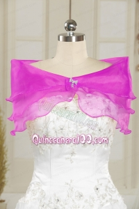 Beautiful Organza Beading Shawls in Fuchsia