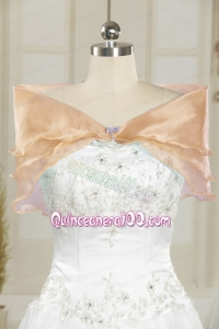 Champagne Open Front Organza Beading Shawls for Wedding