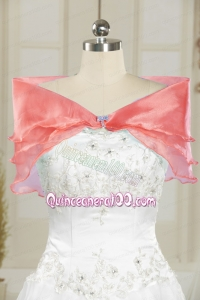 Formal Organza Watermelon Shawls with Beading
