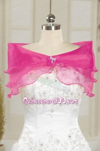 Hot Pink Pretty Organza Beading Shawls for Wedding