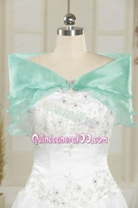 Ice Blue Organza Beading Shawls for Wedding