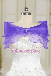 Organza Beading Purple Cheap Prom Shawls
