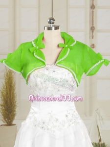 Green Wedding Party Beading Shawls with Open Front