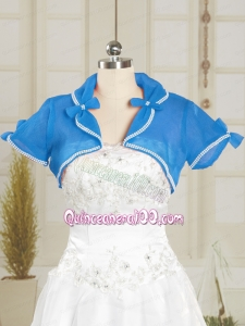 Simple Blue Organza Wedding Party Shawls with Beading